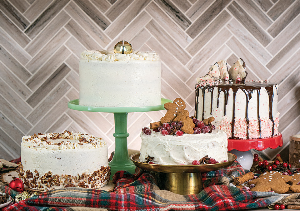 christmas festive holiday cakes with traditional seasonal flavors like gingerbread, peppermint and eggnog.
