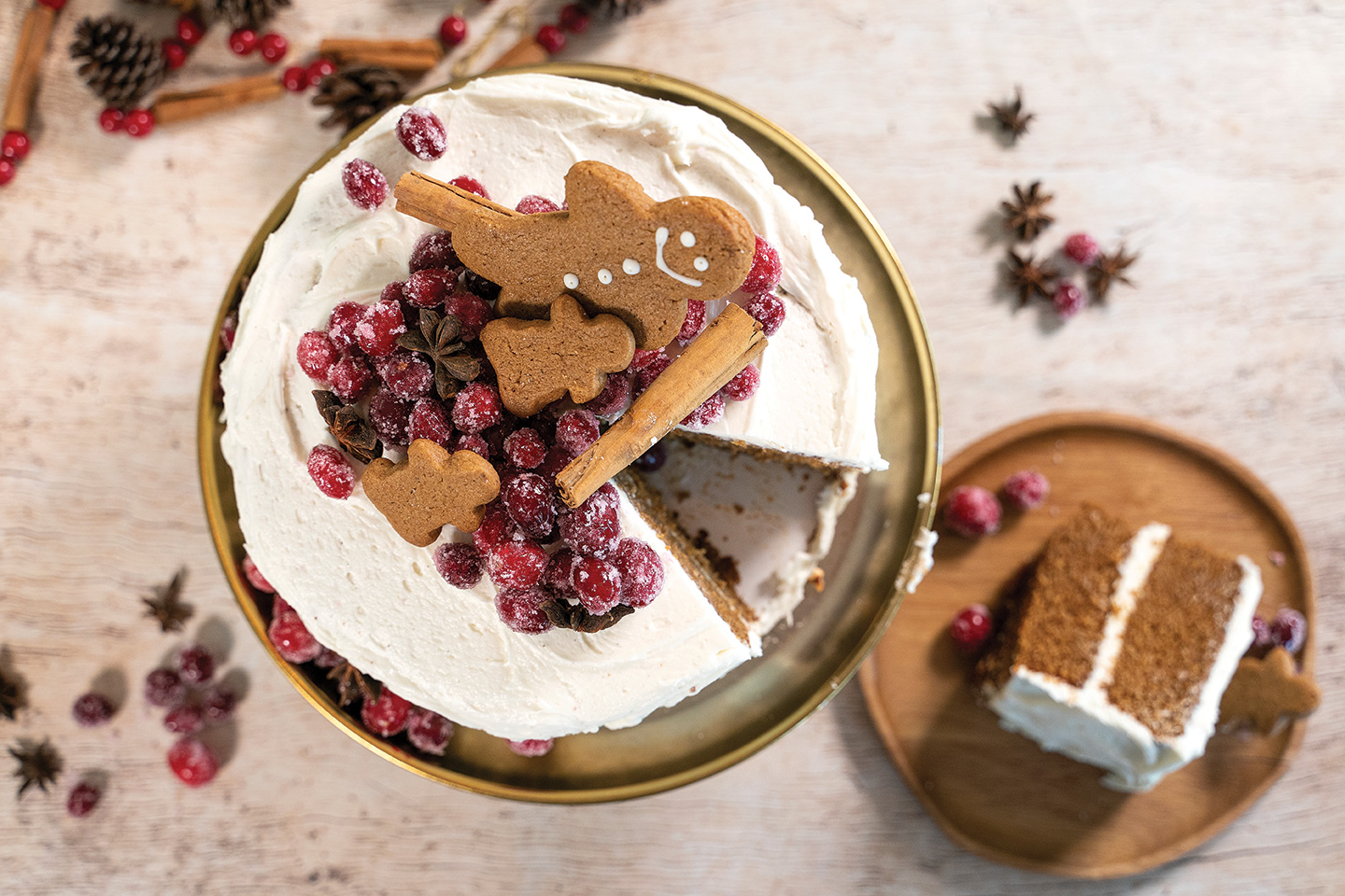 holiday cakes gingerbread cake with cinnamon cream cheese frosting gingerbread men and sugared cranberries