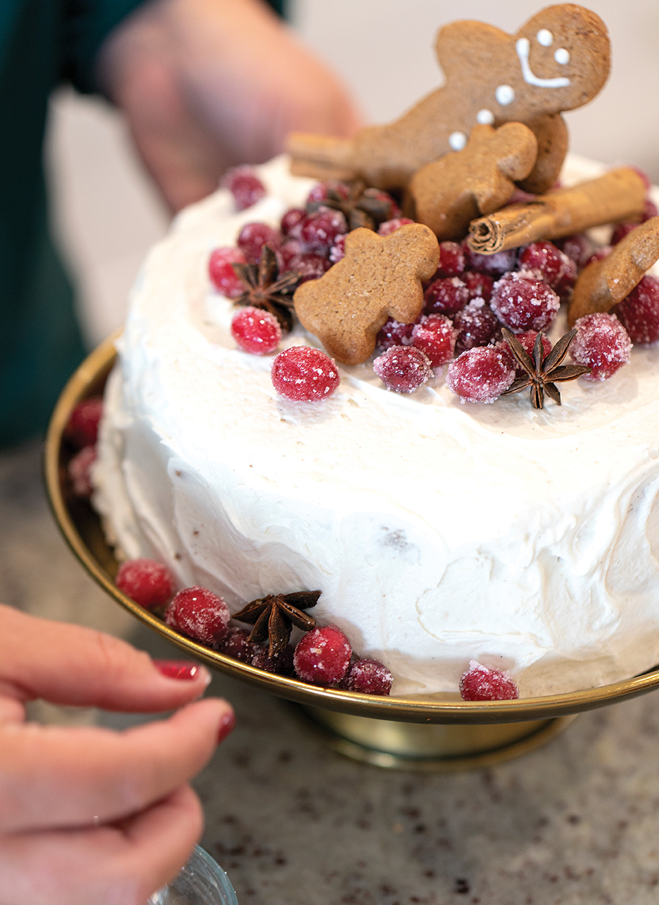 holiday cakes gingerbread cake with sugared cranberries and gingerbread men cookies and star anise