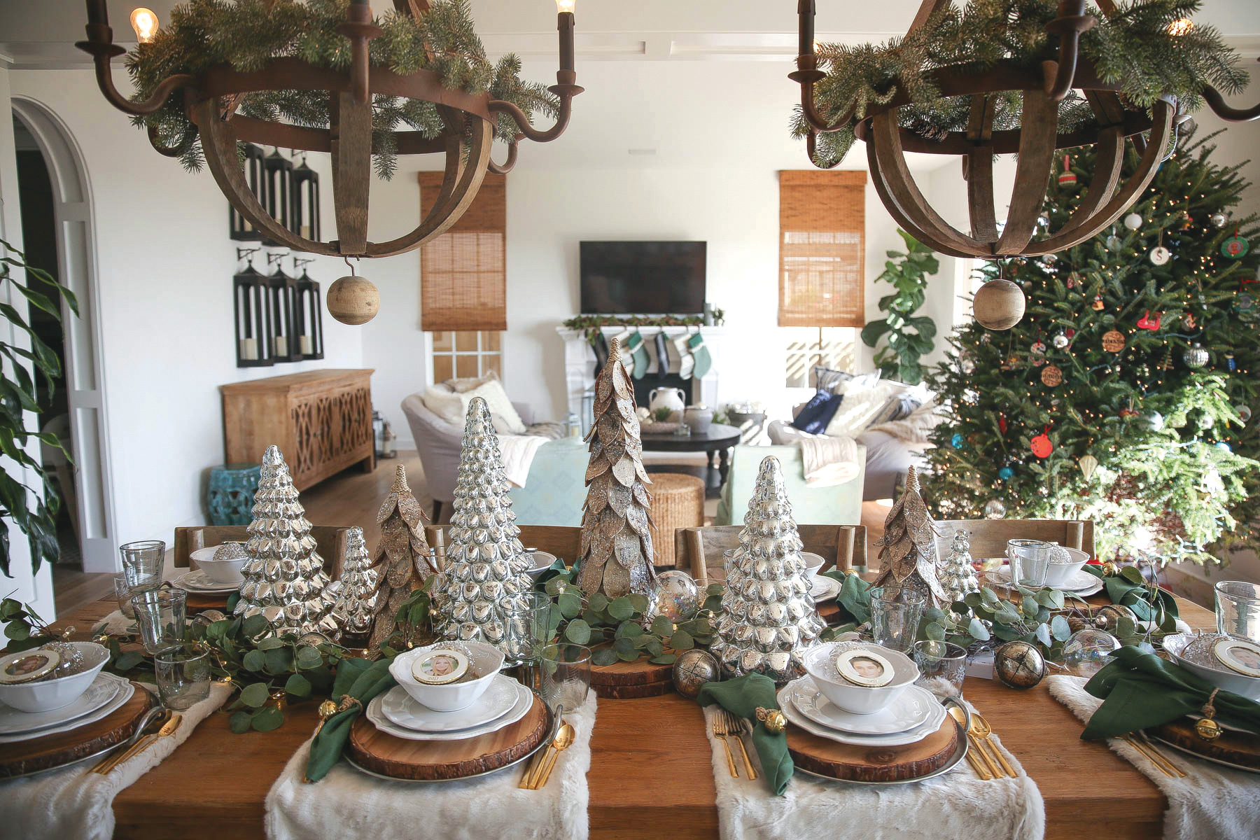 city girl gone mom san diego danielle lucia schaffer dining table decor holiday decorations wooden trees pine wreaths