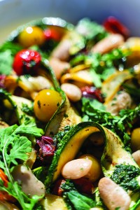 Charred Summer Squash  and Cherry Tomatoes with Shelling Beans